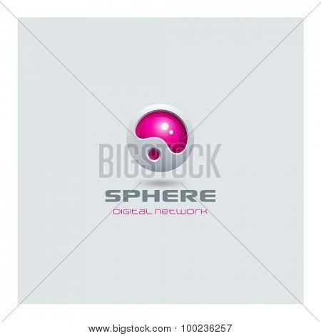 Sphere abstract futuristic Logo media web technology design vector template. Sci-fi creative hitech style logotype icon.