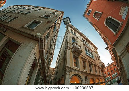 Fish Eye View At Streets In Venice, Italy