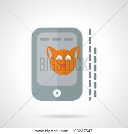 Cat photo in phone flat vector icon