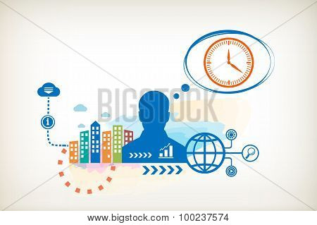 Clock And Person With Bubbles For Dialogue.