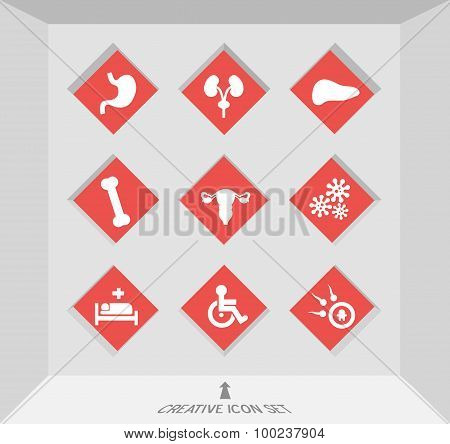 Abstract creative concept vector set of healthcare and medical icons for web and mobile app isolated