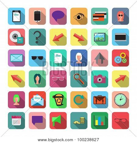 Web Icons in Flat Style.