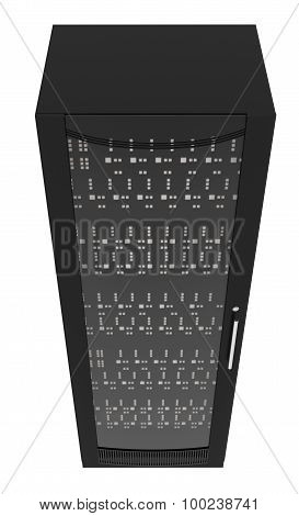 Black metal locker with handle on white, top view
