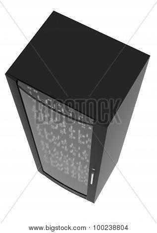 Black metal locker with handle on white