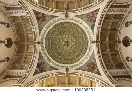 Ornate Celing And Dome Of Catholic Church