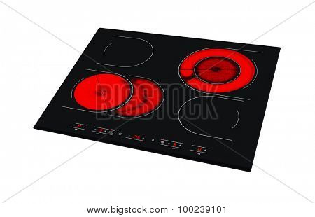 Electric hob with ceramic surface and touch control panel isolated on white.