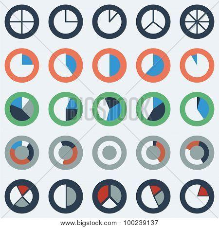 Segment pie chart icon set circle diagrams business icons.