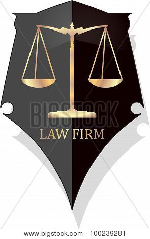 Justice Scale Icon With Caption Law Firm In Gold Grunge Style On A Black Shield With Shadow