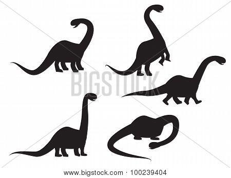 Silhouette Of Brontosaurus Dinosaur Vector