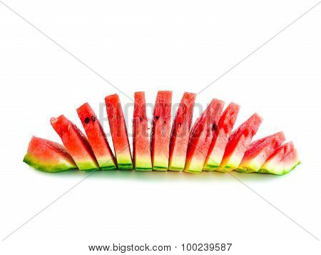 Isolated arranged watermelon slices