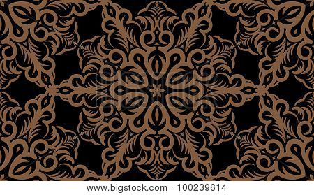 Seamless Abstract Tribal Pattern. Hand Drawn Ethnic Texture, Vector Illustration In Dark Tones.