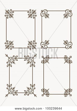 Set Of 4 Rich Decorated Calligraphic Outlined Stroke Frames.