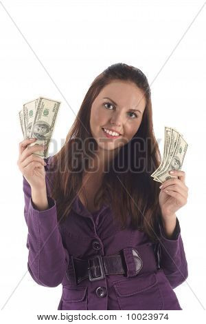 Funny girl with money on white background