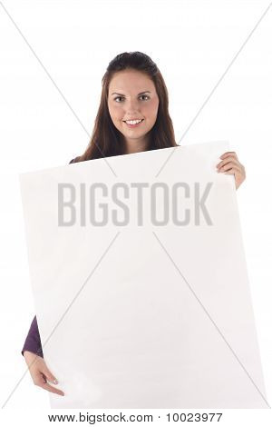 Smiling female holding big blank sign (isolated)