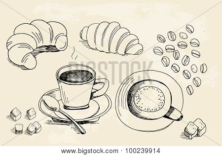 Set Of Doodles, Hand Drawn Rough Simple Coffee Theme Sketches, Various Kinds Of Coffee, Ingredients
