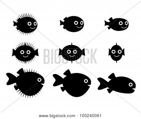 Set Of Pufferfish, Blowfish And Globefish Silhouette