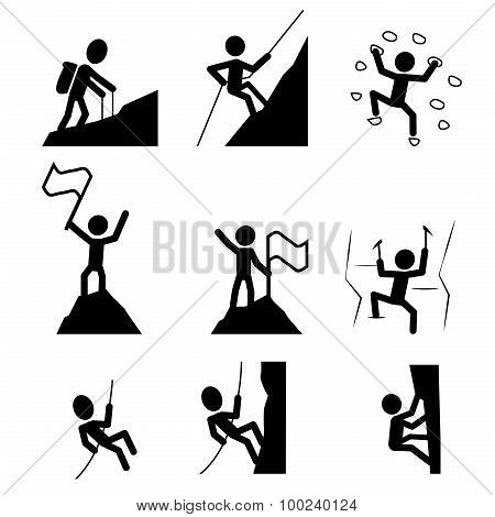 Hiking And Climbing Icon. Vector