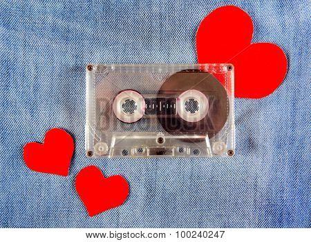 Cassette On Denim Background