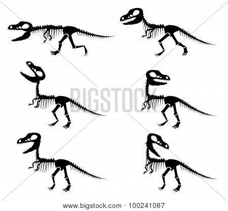 Silhouettes Of The Skeleton Of A Tyrannosaurus Rex