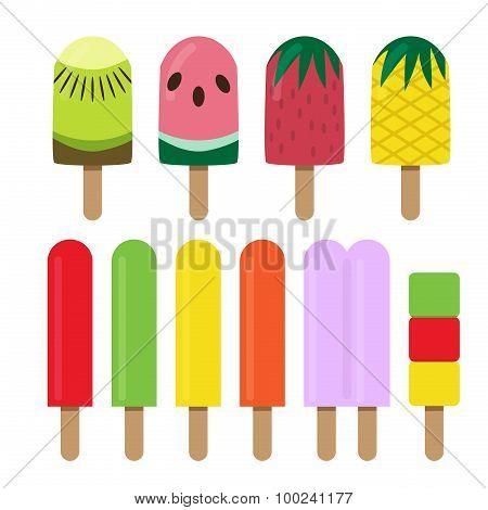 Set Of Fruit Ice Cream Bar In Flat Style