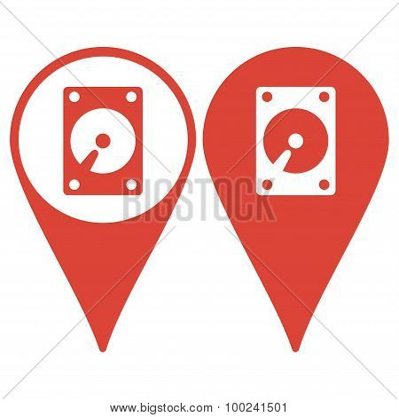 Map Pointer. Hard Disk Icon