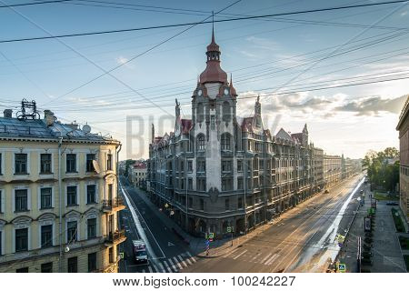 ST. PETERSBURG, RUSSIA - JUNE  22, 2015: Building with spire at corner of Sadovaya Street and Voznesensky Prospect
