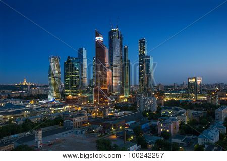 MOSCOW - JUN 4, 2015: Modern Moscow International Business Center at dark night. Years of construction of complex - 1995-2018
