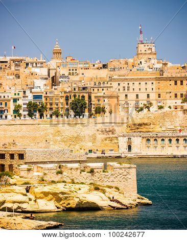 picturesque view on Valletta coastal architecture in Malta