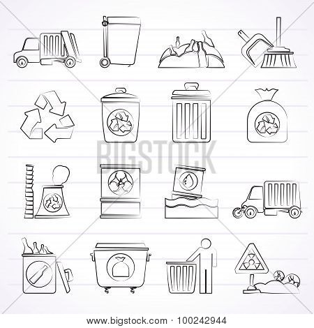 Garbage, cleaning and rubbish icons
