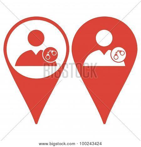 Map Pointer. User Icon, Handcuffs Icon