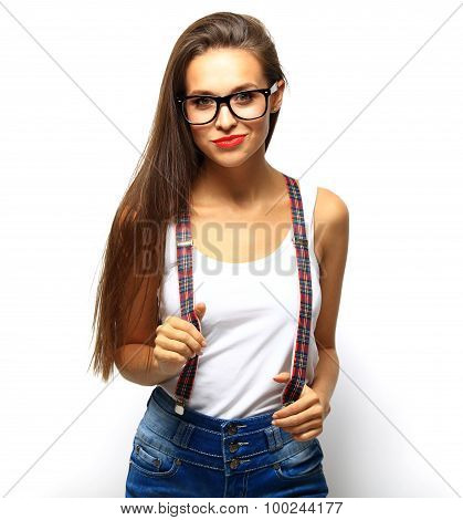 High Fashion Look.glamor Stylish Beautiful Young Woman Model With Red Lips In Summer Bright Colorful