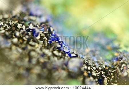 Green Malachite And Azurite Crystals Deep Blue Copper Mineral  Macro