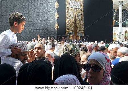 Muslim Pilgrims, From All Around The World, Revolving Around The Kaaba