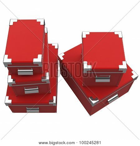 Boxes, handles, rivets. 3D graphic