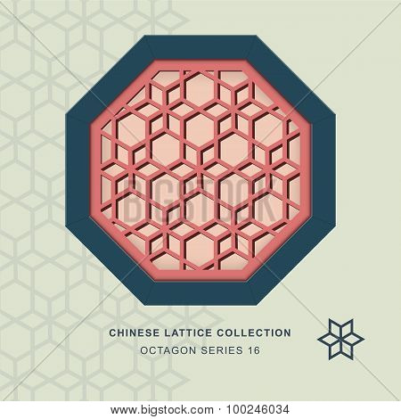 Chinese window tracery octagon frame 16 star flower