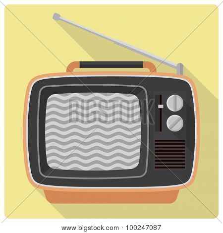 Vintage television set vector icon. Retro styled flat design vector icon of 1970s portable television set