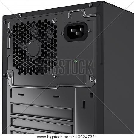 Back panel of PC system unit top part. 3d graphic