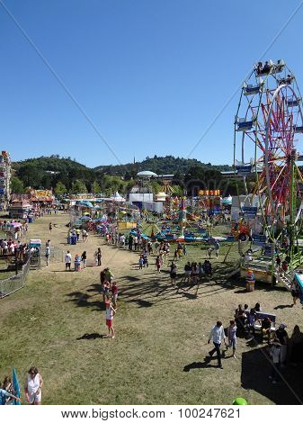 Aerial Of People Enjoy Amusement Park Rides At The Marin County Fair