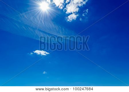 Bright Sun Shining In The Sky With Clouds