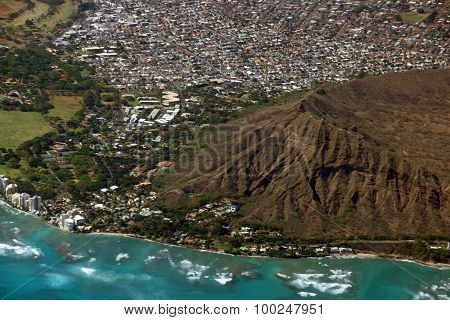 Aerial View Of Diamondhead, Kapiolani Park, Waikiki, Shell, Kapahulu Town, Homes, Pacific Ocean, Wav