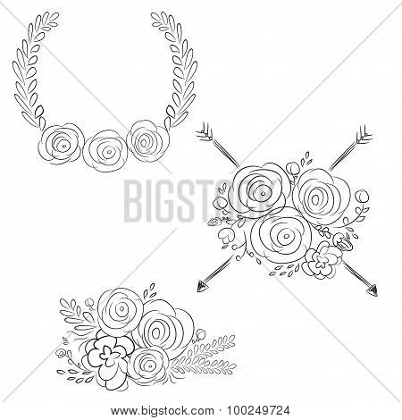 Vector Wreaths And Laurel Wreaths. Round Flower Vector Frames. Hand Drawn Design Elements Set.