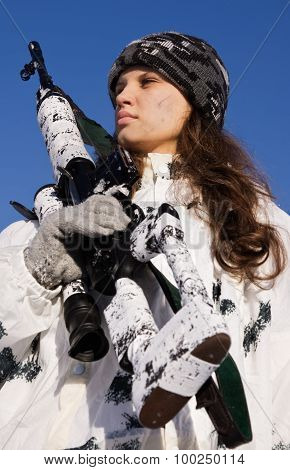 Sniper Girl In White Camouflage On A Blue Sky Background