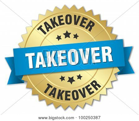 Takeover 3D Gold Badge With Blue Ribbon