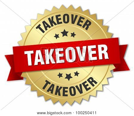 Takeover 3D Gold Badge With Red Ribbon