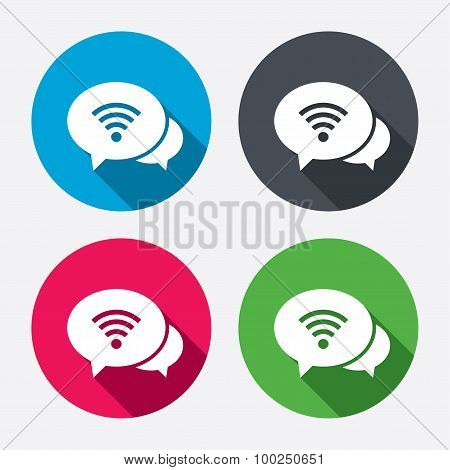 Chat speech bubbles. Wifi sign. Wi-fi symbol.