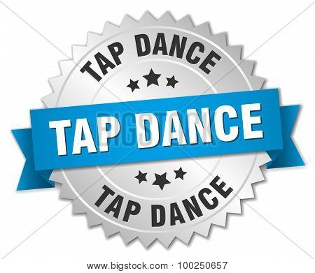 Tap Dance 3D Silver Badge With Blue Ribbon
