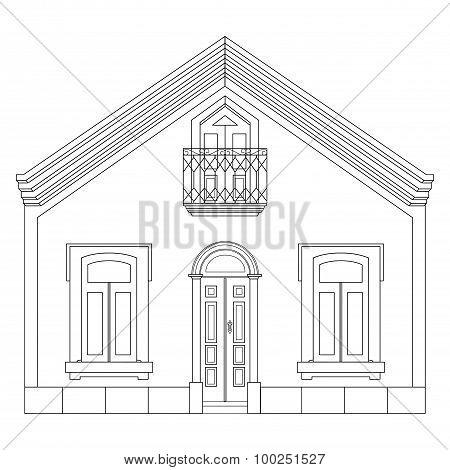 Sketch Line At Home. House Sketch. Vector Illustration