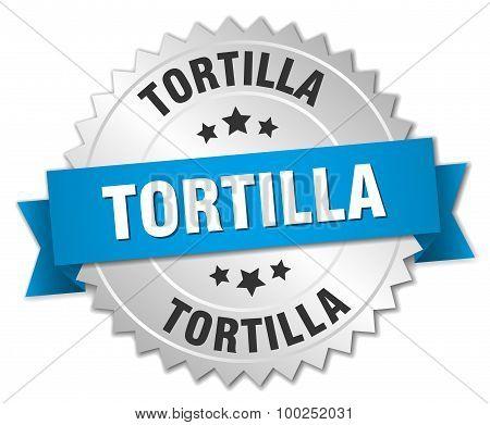 Tortilla 3D Silver Badge With Blue Ribbon