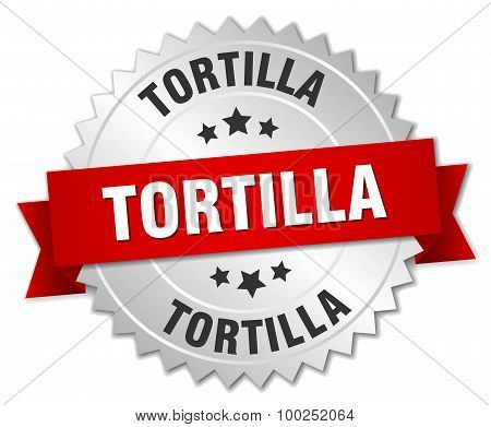Tortilla 3D Silver Badge With Red Ribbon