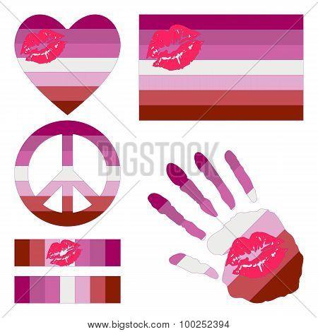 Lipstick Lesbian Pride Design Elements.